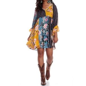 Umgee Multi Floral patch bell sleeve dress